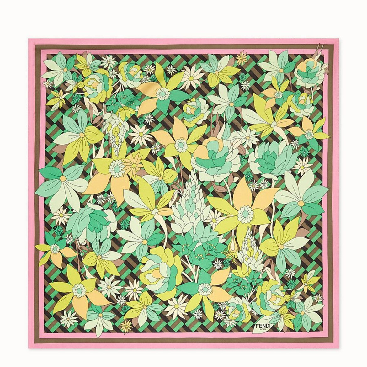 FENDI flowers foulard multicolor silk foulard HK$3,850