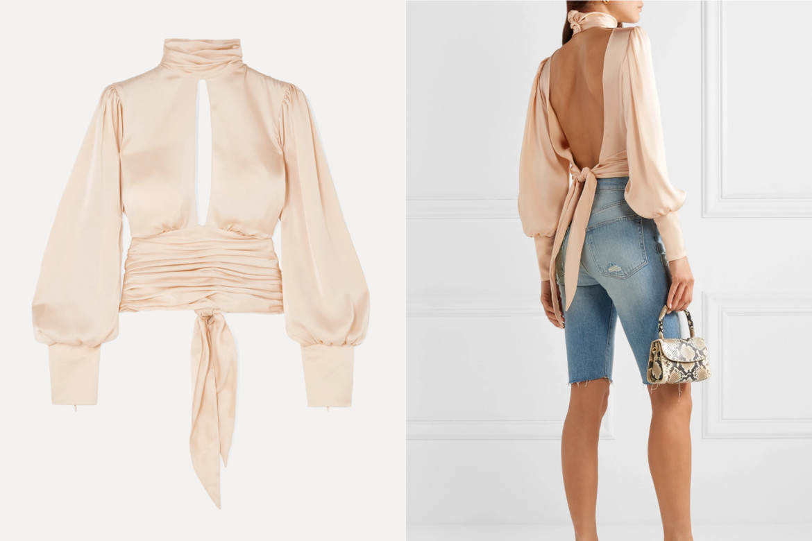 ORSEUND IRIS Night Out open-back ruched satin blouse HK$4,370.63 from net-a-porter
