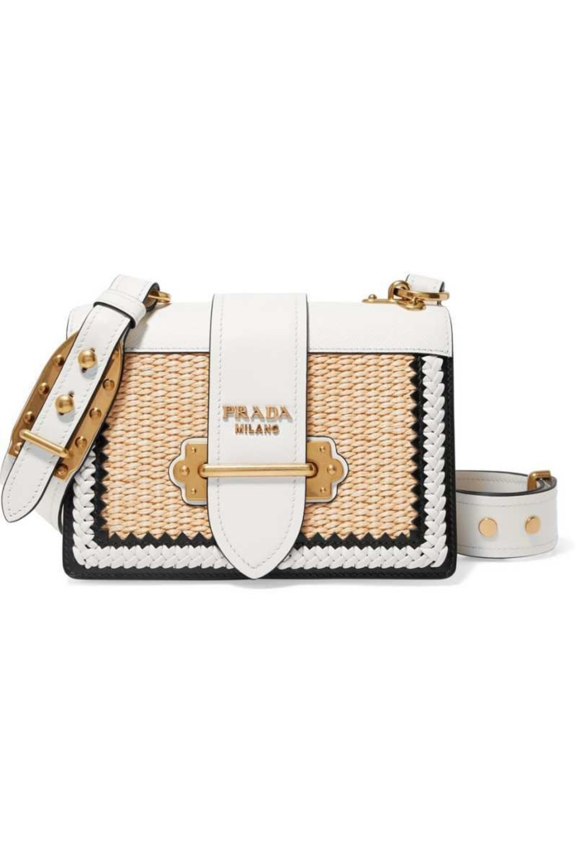 PRADA Cahier whipstitched leather and raffia shoulder bad