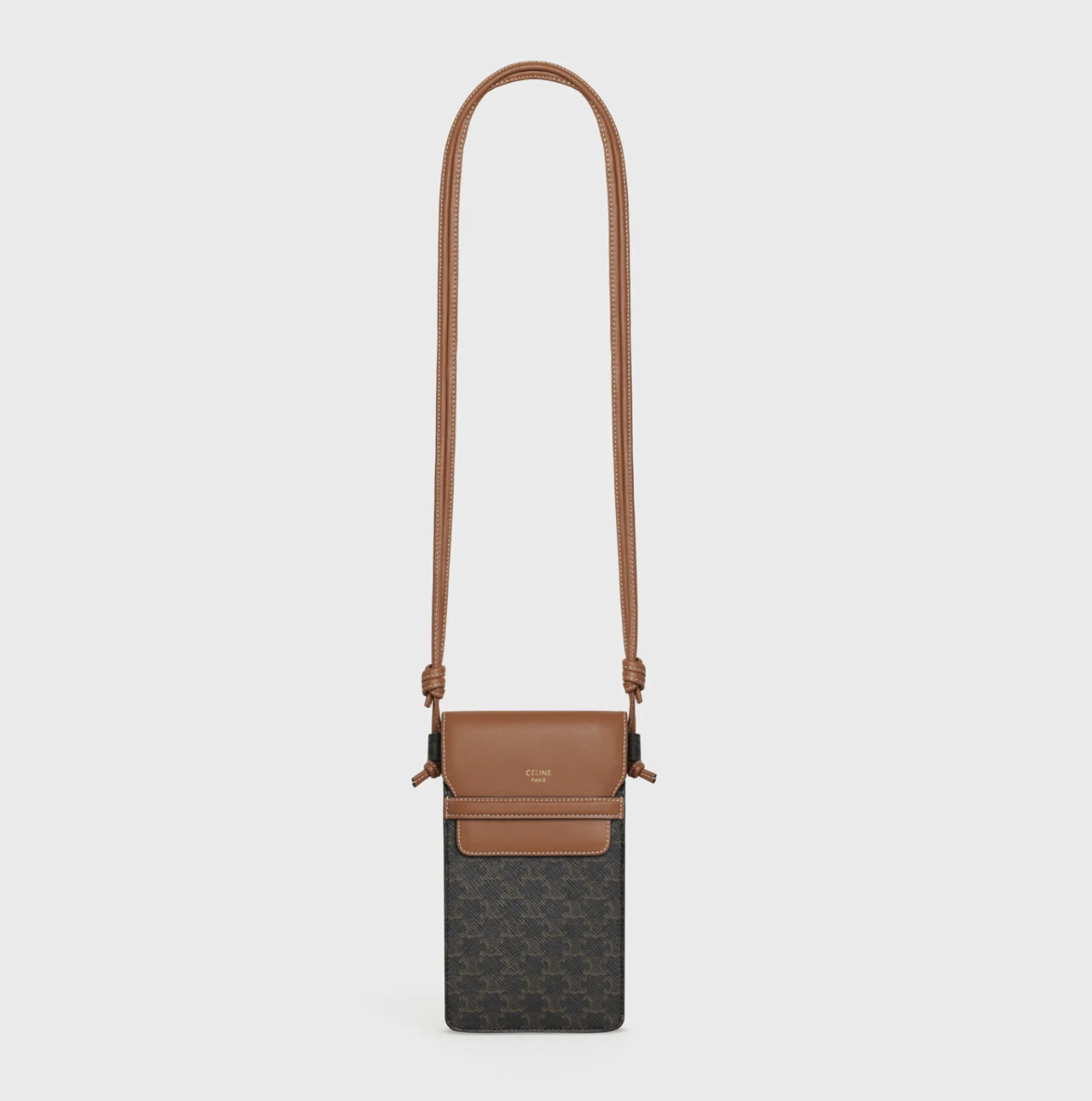 CELINE Phone Pouch in Triomphe Canvas and Lambskin HK$4,400