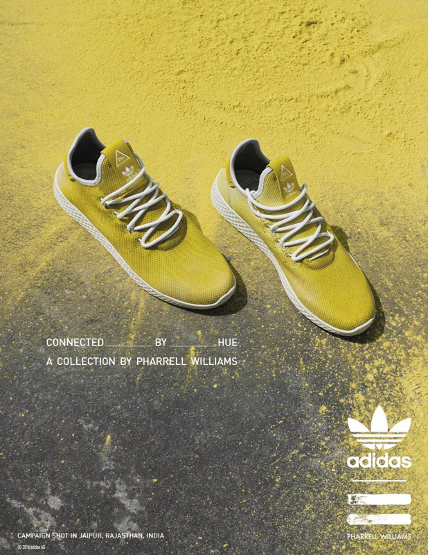 "adidas Originals by Pharrell Williams""Hu""Holi系列adicolorTennis Hu Pk鞋款,3890元。品牌提供"