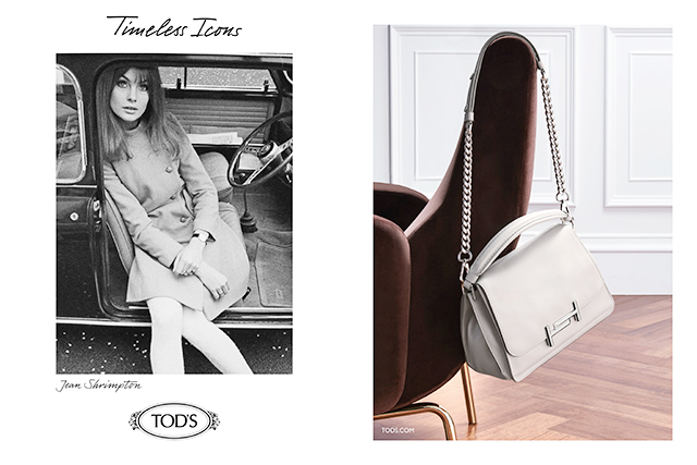 TOD'S 的2016年秋冬「Timeless Icons」系列廣告,繆斯女神之一,Jean Shrimpton與TOD'S Double T Bag。